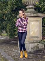 Ecru-bordowa damska koszula w kratę z kieszonkami                                  zdj.                                  9