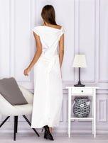 Ecru długa sukienka z drapowaniami                                  zdj.                                  2