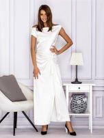 Ecru długa sukienka z drapowaniami                                  zdj.                                  4