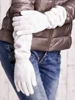 Ecru długie rękawiczki z marszczonym ściągaczem                                                                           zdj.                                                                         3