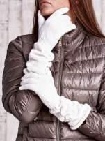 Ecru długie rękawiczki z marszczonym ściągaczem                                   zdj.                                  1
