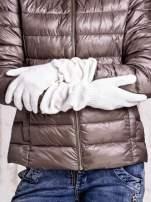 Ecru długie rękawiczki z marszczonym ściągaczem                                   zdj.                                  2