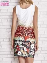 Ecru dopasowana sukienka z motywem pantery                                                                          zdj.                                                                         4
