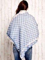 Bordowa wełniana chusta w kwadraty                                                                          zdj.                                                                         1