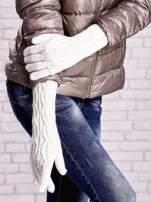 Ecru rękawiczki o warkoczowym splocie z błyszczącą nicią                                  zdj.                                  3