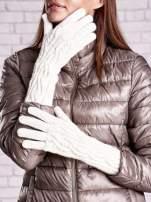 Ecru rękawiczki o warkoczowym splocie z błyszczącą nicią                                  zdj.                                  1