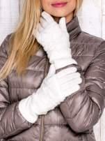 Ecru rękawiczki z ażurową warstwą                                  zdj.                                  1