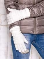 Ecru rękawiczki z ażurową warstwą                                  zdj.                                  3