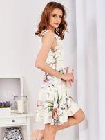 Ecru rozkloszowana sukienka w malarskie roślinne wzory                                  zdj.                                  7