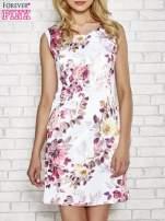 Ecru sukienka w różowe kwiaty                                  zdj.                                  1