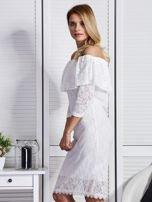 Ecru sukienka z hiszpańskim dekoltem                                  zdj.                                  3