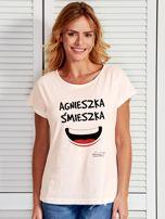 Ecru t-shirt damski AGNIESZKA ŚMIESZKA by Markus P                                  zdj.                                  1