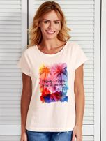Ecru t-shirt damski PALMY I PLAŻA by Markus P                                  zdj.                                  1