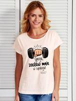 Ecru t-shirt damski ZOSTAW MNIE by Markus P                                  zdj.                                  1