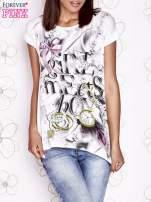 Ecru t-shirt damski z napisem GIRL MEETS BOY                                  zdj.                                  1