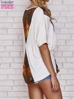 Ecru t-shirt oversize ze złotymi zipami                                  zdj.                                  4