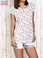Ecru t-shirt w róże z koronką przy rękawach                                  zdj.                                  1