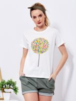 Ecru t-shirt z kolorowym nadrukiem i perełkami                                  zdj.                                  1