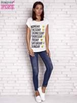 Ecru t-shirt z motywem dni tygodnia emoji weekday