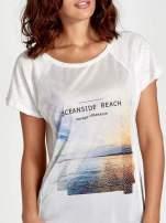 Ecru t-shirt z nadrukiem OCEANSIDE BEACH                                  zdj.                                  5
