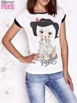 Ecru t-shirt z nadrukiem dziewczyny i dżetami                                  zdj.                                  1