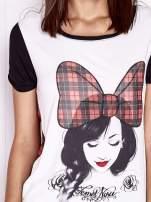 Ecru t-shirt z nadrukiem dziewczyny i tiulowym tyłem                                  zdj.                                  5