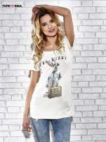 Ecru t-shirt z nadrukiem królika Funk n Soul                                  zdj.                                  1