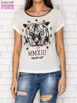 Ecru t-shirt z nadrukiem tygrysa i zipem z tyłu                                  zdj.                                  1