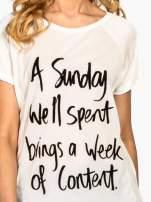 Ecru t-shirt z napisem A SUNDAY                                  zdj.                                  4