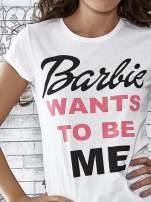 Ecru t-shirt z napisem BARBIE WANTS TO BE ME