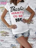 Ecru t-shirt z napisem BARBIE WANTS TO BE ME                                                                          zdj.                                                                         1