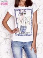 Ecru t-shirt z napisem BOHEMIAN GIRL                                  zdj.                                  1