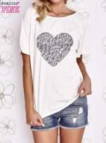 Ecru t-shirt z napisem JE T'AIME i dekoltem na plecach                                                                          zdj.                                                                         1