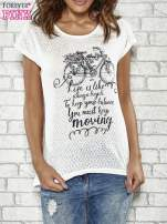 Ecru t-shirt z napisem LIFE IS LIKE RIDING A BICYCLE
