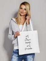 Ecru torba materiałowa MY OTHER BAGS ARE PRADA                                  zdj.                                  2