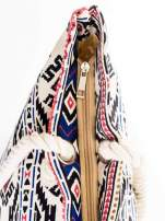 Ecru torba plażowa w azteckie wzory                                  zdj.                                  7