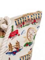 Ecru torba plażowa z motywem Londynu                                  zdj.                                  8