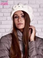 Ecru wełniany beret z błyszczącą aplikacją