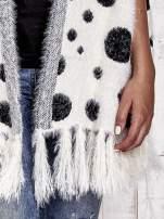 Ecru włochaty sweter w grochy                                  zdj.                                  7