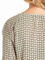 Ecru-zielona koszula w geometryczne wzory                                  zdj.                                  6