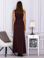 Elegancka sukienka wieczorowa maxi brązowa                                  zdj.                                  2