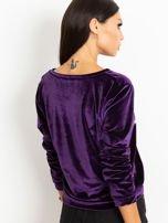 Fioletowa aksamitna bluza ze srebrnym nadrukiem                                  zdj.                                  5