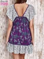 Fioletowa sukienka baby doll w kwiatki                                  zdj.                                  2