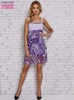 Fioletowa sukienka przed kolano na cienkich ramiączkach                                  zdj.                                  4