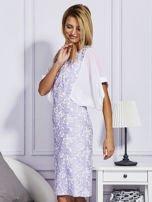 Fioletowa sukienka z luźnymi rękawami                                   zdj.                                  3