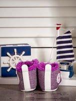 Fioletowe ocieplane buciki dziecięce w wzór jodełki                                  zdj.                                  4
