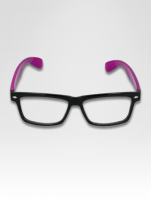 Fioletowo-czarne okulary zerówki kujonki typu WAYFARER NERDY                                  zdj.                                  3