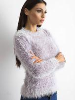 Fioletowy sweter z długim włosem i cekinami                                  zdj.                                  1