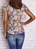 Fioletowy t-shirt w kwiaty z napisem BEFORE I EVER MET YOU                                  zdj.                                  2