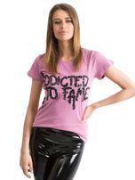 Fioletowy t-shirt z napisem ADDICTED TO FAME z cekinów Funk n Soul                                  zdj.                                  7